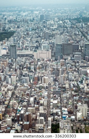 Tokyo, Japan - September 24: Cityview of Tokyo, Japan on September 24 2015. Tokyo is the most populous metropolitan area in the world, the capital and the largest city of Japan.