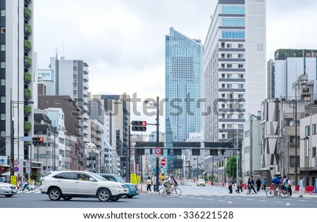 Tokyo, Japan - September 26: Shiodome station in Tokyo, Japan on September 26 2015. Formerly a railway terminal, Shiodome has been transformed into one of Tokyo's most modern areas. - stock photo