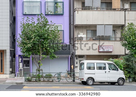 Tokyo, Japan - September 22: Streets of Tokyo, Japan on September 22 2015. Tokyo is the most populous metropolitan area in the world, the capital and the largest city of Japan. - stock photo