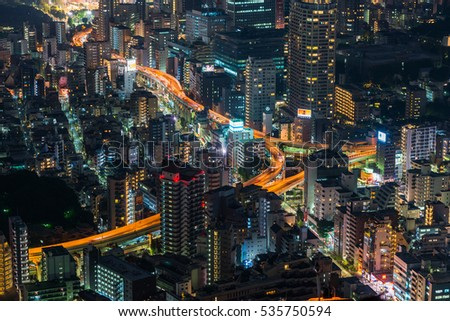 Tokyo, Japan - September 17, 2016: Tokyo, Japan cityscape and highways.Tokyo is the world's most populous metropolis and is described as one of the three command centers for world economy.