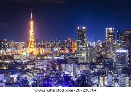Tokyo, Japan skyline at night. - stock photo