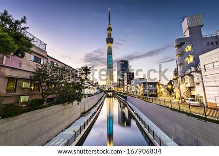 Tokyo, Japan Sumida Ward cityscape. - stock photo