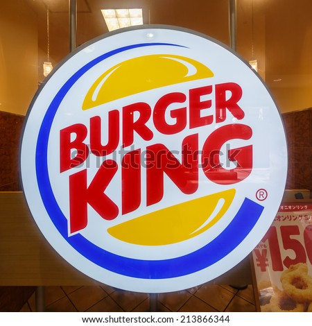TOKYO - JUL 12: Burger King sign in Ebisu on July 12, 14 in Tokyo. is a global chain of hamburger fast food restaurants headquartered in unincorporated Miami-Dade County, Florida, United States. - stock photo