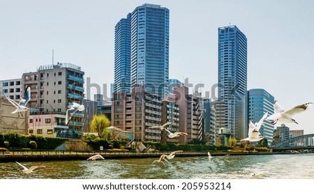 TOKYO - MARCH 24: View of skyscrapers in the Tokyo Bay area on March 24, 2014 in Tokyo, Japan. The Tokyo Bay region is both the most populous and largest industrialized area in Japan. - stock photo