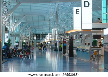 TOKYO - MAY 3: Interior of Tokyo International Airport / Haneda Airport, Japan on May 3, 2015. Tokyo International Airport is one of the two primary airports that serve the Greater Tokyo Area in Japan