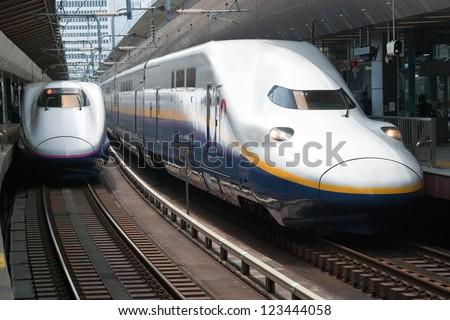 TOKYO-MAY 20: Shinkansen bullet train at Tokyo railway station in May 20, 2012 Tokyo, Japan.Shinkansen is the world's busiest high-speed railway operated by four Japan Railways companies. - stock photo