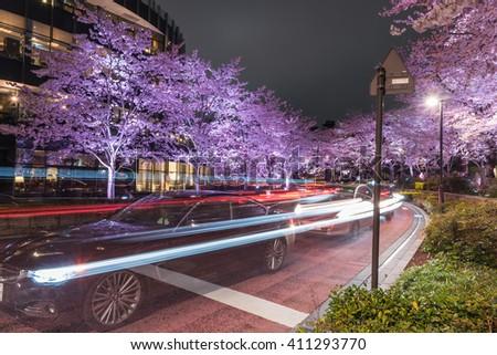 TOKYO MIDTOWN - TOKYO - JAPAN - 2016 : Traffic Light Lines passing through a street in Tokyo Midtown (Roppongi Area)) with Sakura Illumination on 2 April 2016 - stock photo