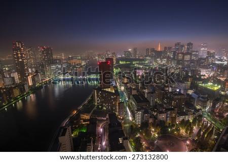 Tokyo night scene, panoramic view - stock photo