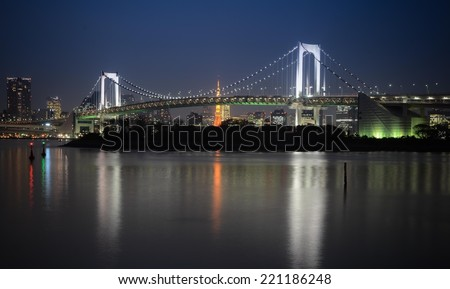 Tokyo night view from Odaiba bay side. - stock photo