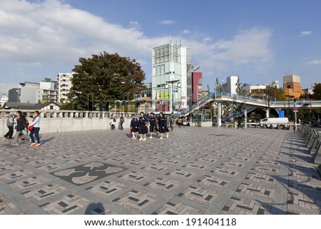 TOKYO - NOV 11  : People, mostly youngsters, walk toward Yoyogi park near Harajuku train station on November 11,2013. Harajuku is known as a center of Japanese youth culture and fashion. - stock photo