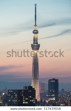 TOKYO - NOV 4: View of Tokyo Sky Tree (634m) at night, the highest free-standing structure in Japan and 2nd in the world with over 10million visitors each year, on November 4, 2012 in Tokyo, Japan - stock photo