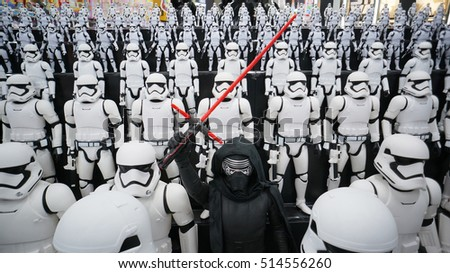 TOKYO - NOVEMBER 9, 2016: First Order Storm troopers army with Kylo Ren in the center were display at Yodobashi Akiba in Tokyo, Japan.