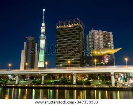 TOKYO - NOVEMBER 27: The highest construction in Japan, Tokyo Skytree, is new landmark in Tokyo, Japan, during night light view, was taken on November 27, 2015.