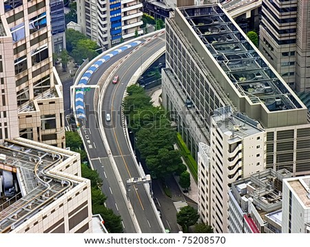Tokyo overhead Highway in the middle of downtown