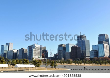 Tokyo panorama as seen from imperial gardens in Chiyoda district