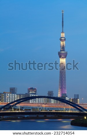 TOKYO - SEP 06 :View of Tokyo Sky Tree (634m) at night, the highest free-standing structure in Japan and 2nd in the world with over 10million visitors each year on Sep 06,2014 in Tokyo Japan  - stock photo