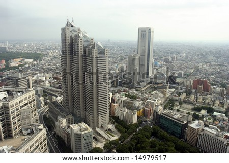 Tokyo Shinjuku Center aerial view during the day - stock photo