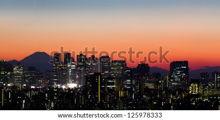 Tokyo skyline and Mount Fuji at sunset