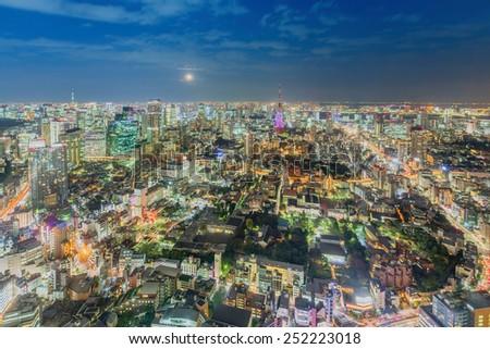 Tokyo skyline at night, Japan - stock photo