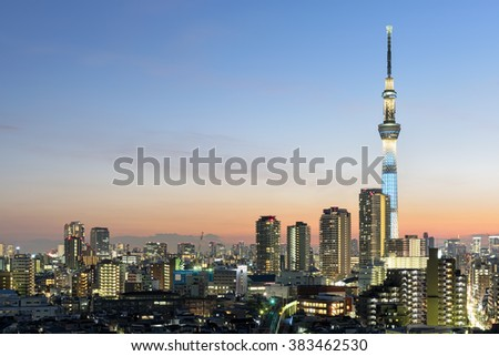 Tokyo Skyline with SkyTree at night.  - stock photo