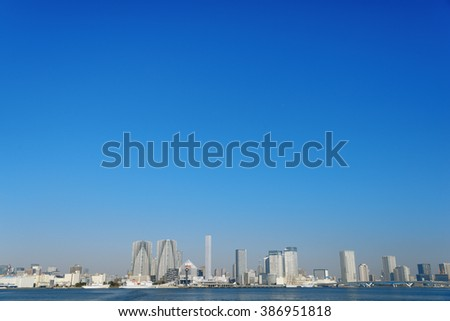 Tokyo skyline with waterfront view, Japan - stock photo