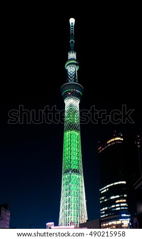 TOKYO SKYTREE Green illumination TOKYO, JAPAN - December 25, 2012:Shooting from near the bridge