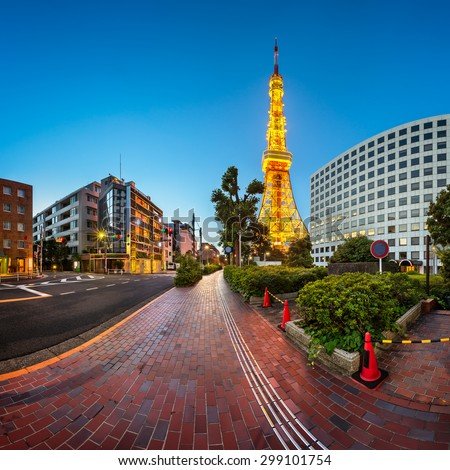 Tokyo Tower and Shibakoen Street in the Morning, Minato, Tokyo, Japan - stock photo