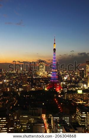 Tokyo Tower beautiful night illumination. - stock photo