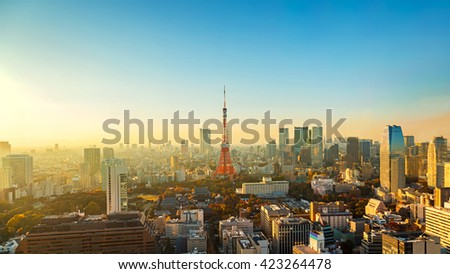 Tokyo Tower in Late Evening   - stock photo
