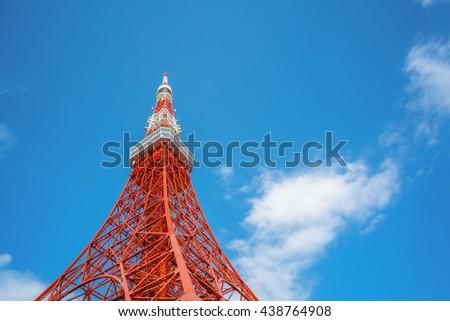Tokyo Tower in Tokyo, street eye view - stock photo