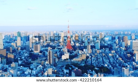 Tokyo Tower, Japan - Nov 6, 2015: Tokyo Tower view from Tokyo Skytree