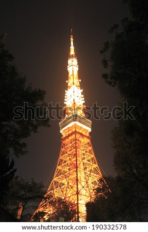 Tokyo Tower light up night view