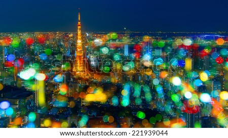 Tokyo Tower with Bokeh Light - stock photo