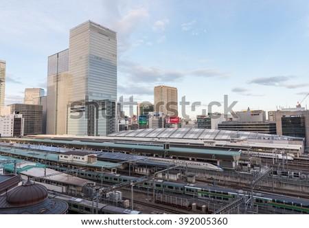 TOKYO TRAIN STATION - TOKYO - JAPAN - FEB 2016 : Platform of Tokyo Station (Main Station for Trains) on 13 Feb 2016 - stock photo