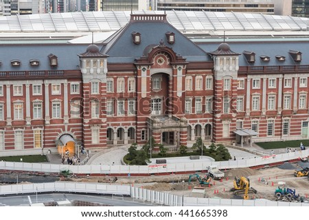 TOKYO TRAIN STATION - TOKYO - JAPAN - 1 JUN 2016 : Main Entrance of Tokyo Station Red Brick Building, One of the Most Busiest Train Station in Japan - stock photo