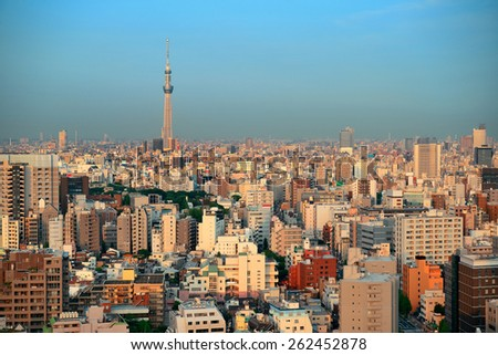 Tokyo urban skyline rooftop view with Skytree, Japan. - stock photo
