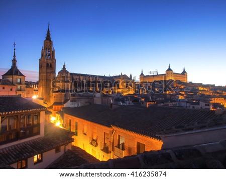 Toledo's skyline in the morning - stock photo