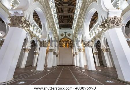 TOLEDO,SPAIN - CIRCA MARCH 2016: the interior at Synagogue Santa Maria la Blanca - stock photo