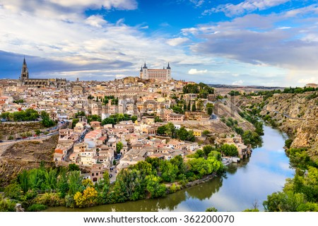 Toledo, Spain old town city skyline. - stock photo