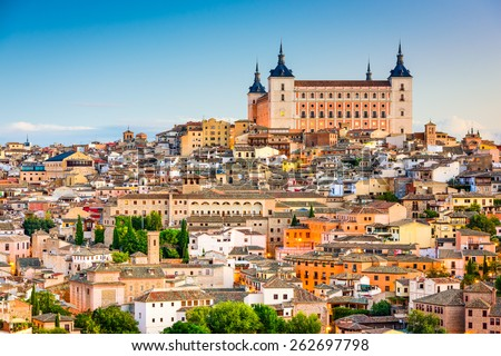 Toledo, Spain old town cityscape at the Alcazar. - stock photo