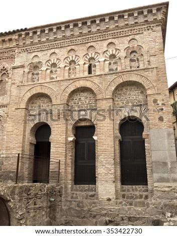 TOLEDO, SPAIN - SEPTEMBER 6 2015: Mosque of Cristo de la Luz is a Moorish mosque built in 999  as a small squared structure, on September 6, 2015, in Toledo, Spain - stock photo