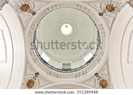 TOLEDO, SPAIN - SEPTEMBER 5 2015: View of the baroque dome with lunette of the Church of San Ildefonso, on September 5, 2015, in Toledo, Spain - stock photo