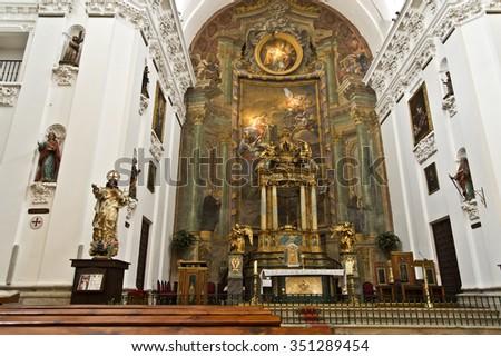 TOLEDO, SPAIN - SEPTEMBER 5 2015: View of the baroque main altar of the Church of San Ildefonso, on September 5, 2015, in Toledo, Spain - stock photo
