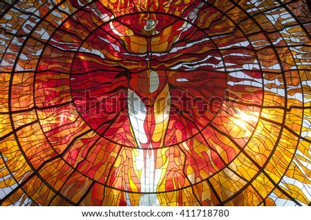 TOLUCA, MEXICO - FEBRUARY 09, 2015: Cosmovitral Botanical Garden in February 09, 2015 inToluca,Mexico.The Cosmovitral is a stained glass mural and botanical garden,the building was constructed in 1910