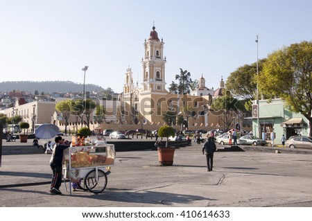 TOLUCA, MEXICO - FEBRUARY 09, 2015: Main square with Cathedral in February 09, 2015 inToluca,Mexico.