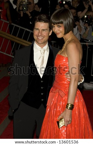 Tom Cruise and Katie Holmes at the  Costume Institute Gala, Superheros and Fashion and Fantasy, held at the Metropolitan Museum, New York. Photo by Ned Parker - stock photo