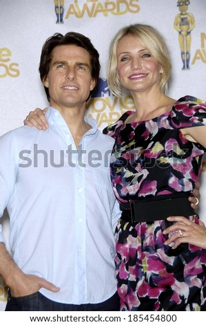 Tom Cruise, Cameron Diaz in the press room for 2010 MTV Movie Awards - Press Room, Gibson Amphitheatre, Los Angeles, CA June 6, 2010