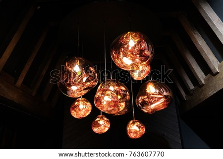 Tom dixon melt pendant lights hanging stock photo edit now tom dixon melt pendant lights hanging in the liberty of london store london uk aloadofball Gallery