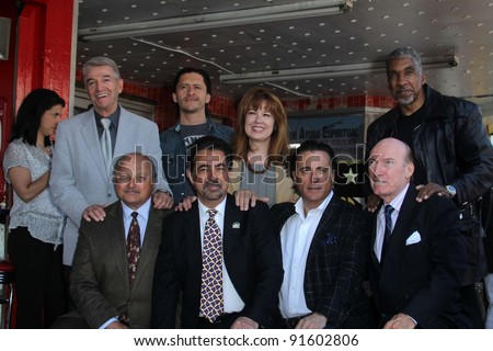 Tom Dreesen, Clifton Collins Jr., Lee Purcel, Stan Shaw, Dennis Franz, Joe Mantegna, Andy Garcia, Ed Lauter at Joe Mantegna's induction into the Hollywood Walk Of Fame, Hollywood, CA, 04-29-11 - stock photo