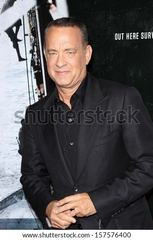 "Tom Hanks at the ""Captain Phillips"" Premiere, Academy of Motion Picture Arts and Sciences, Beverly Hills, CA 09-30-13 - stock photo"